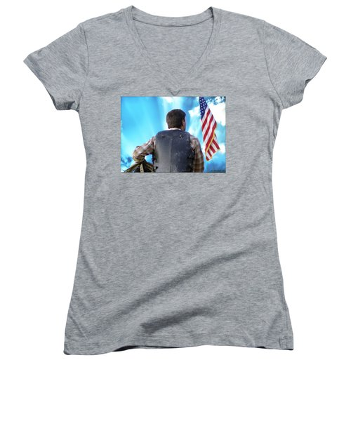 Women's V-Neck T-Shirt (Junior Cut) featuring the photograph Bull Rider by Brian Wallace