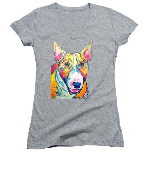 Bull Terrier Women's V-Neck (Athletic Fit)