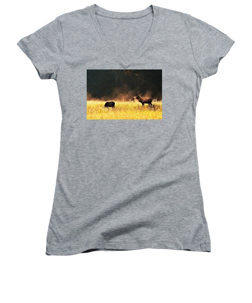 Bull With His Girl Women's V-Neck