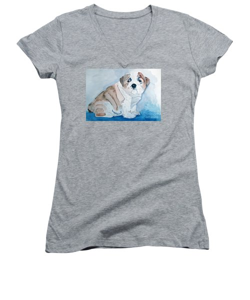 Bulldog Puppy Women's V-Neck T-Shirt (Junior Cut) by Sandy McIntire