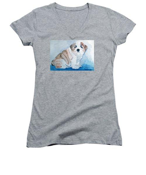 Bulldog Puppy Women's V-Neck