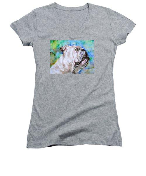 Women's V-Neck T-Shirt (Junior Cut) featuring the painting Bulldog - Watercolor Portrait.4 by Fabrizio Cassetta