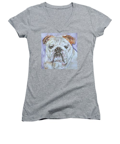 Women's V-Neck T-Shirt (Junior Cut) featuring the painting Bulldog - Watercolor Portrait.5 by Fabrizio Cassetta