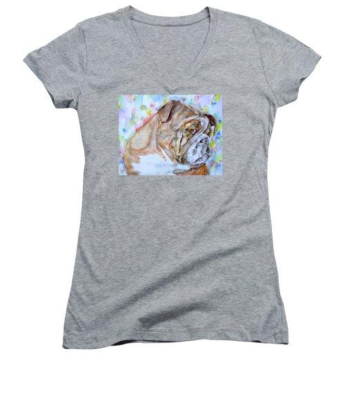Women's V-Neck T-Shirt (Junior Cut) featuring the painting Bulldog - Watercolor Portrait.7 by Fabrizio Cassetta