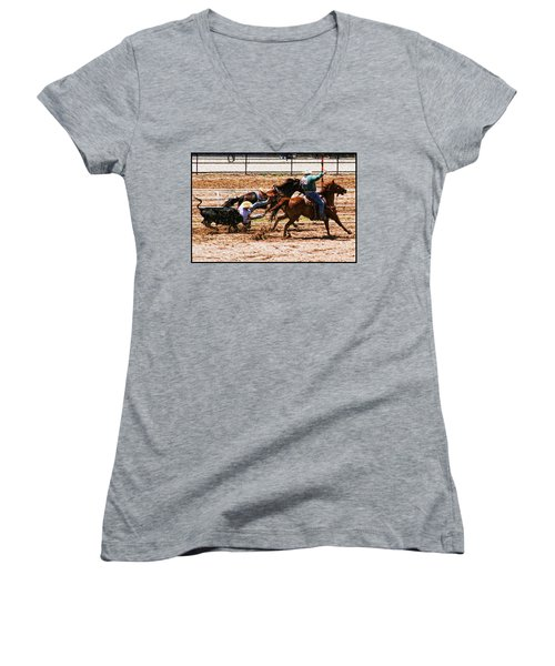 Bulldogging Women's V-Neck T-Shirt (Junior Cut) by John Freidenberg