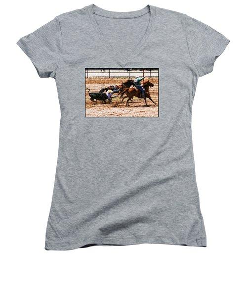 Bulldogging Women's V-Neck T-Shirt