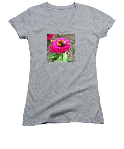 Bumble Bee On Pink Flower Women's V-Neck