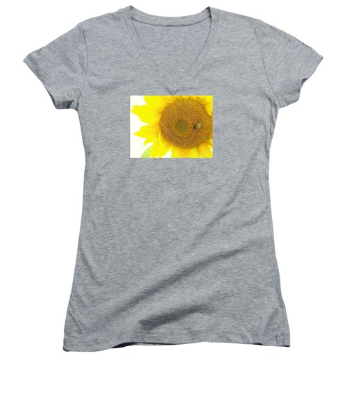 Bumble Bee Sunflower Women's V-Neck (Athletic Fit)