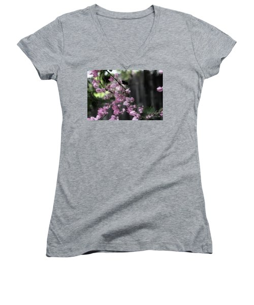 Women's V-Neck T-Shirt featuring the photograph Bumble by Megan Dirsa-DuBois