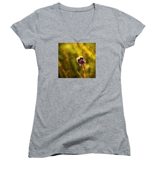 Women's V-Neck T-Shirt (Junior Cut) featuring the photograph Bumblebee  by Rose-Maries Pictures
