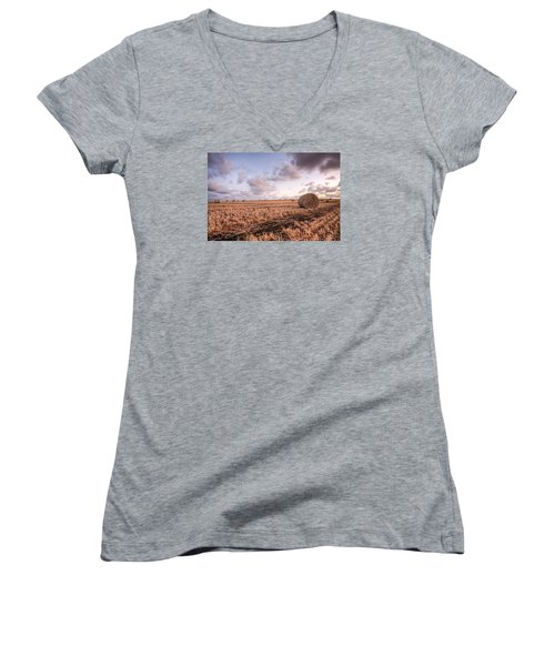 Bundy Hay Bales #2 Women's V-Neck T-Shirt (Junior Cut) by Brad Grove
