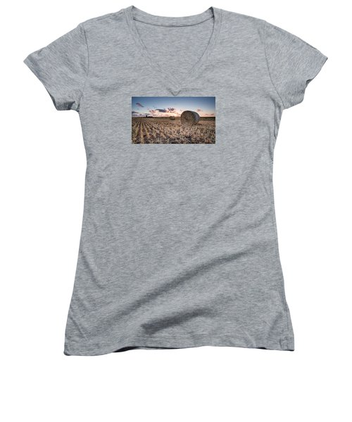 Bundy Hay Bales #4 Women's V-Neck T-Shirt (Junior Cut) by Brad Grove
