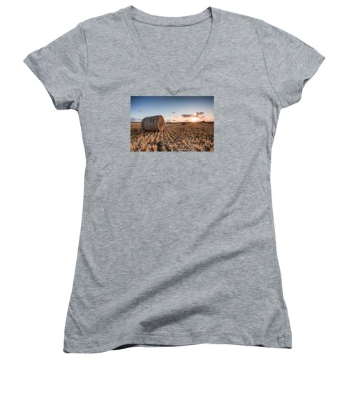 Bundy Hay Bales #5 Women's V-Neck T-Shirt (Junior Cut) by Brad Grove