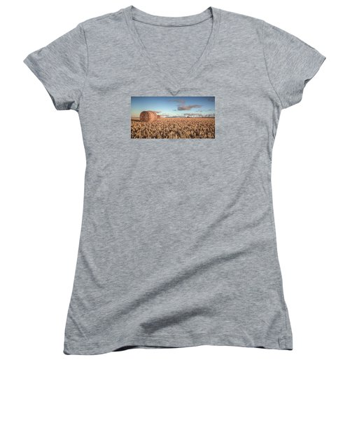 Bundy Hay Bales #6 Women's V-Neck T-Shirt (Junior Cut) by Brad Grove