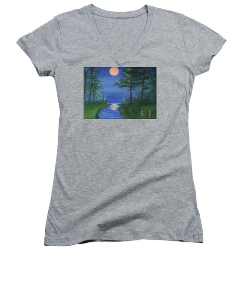 Bunnies In The Garden At Midnight Women's V-Neck (Athletic Fit)