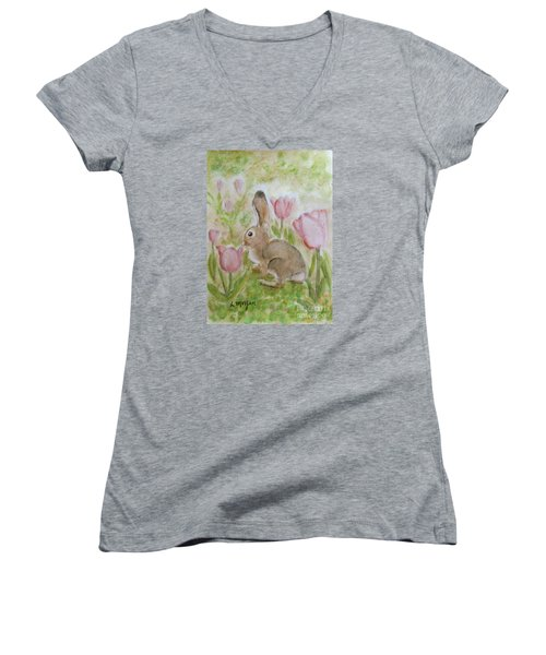Bunny In The Tulips Women's V-Neck T-Shirt (Junior Cut) by Laurie Morgan