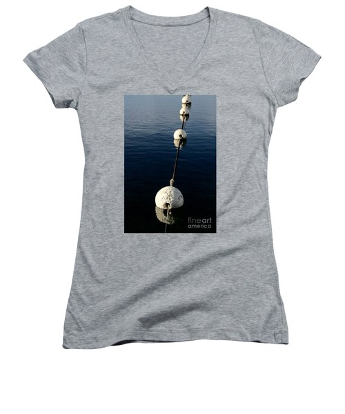Women's V-Neck T-Shirt featuring the photograph Buoy Descending by Stephen Mitchell