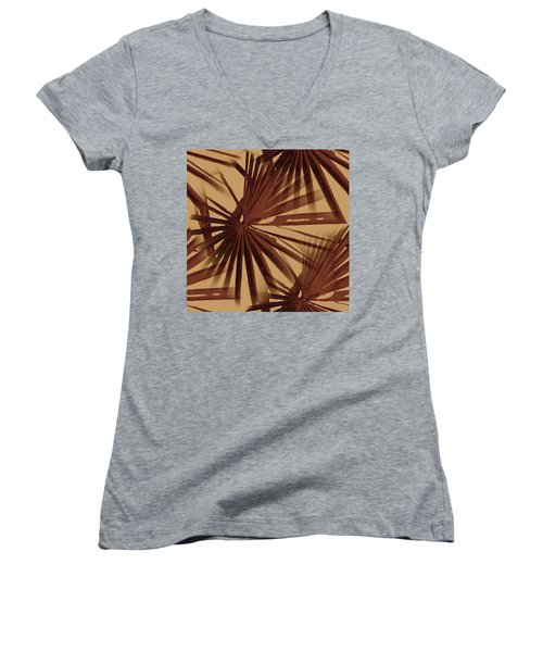 Burgundy And Coffee Tropical Beach Palm Vector Women's V-Neck