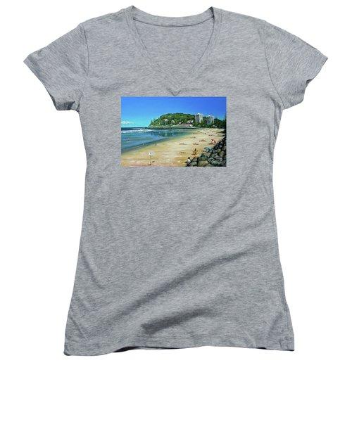 Burleigh Beach 100910 Women's V-Neck T-Shirt (Junior Cut) by Selena Boron