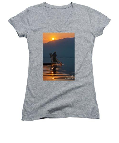 Burma_d143 Women's V-Neck T-Shirt (Junior Cut) by Craig Lovell
