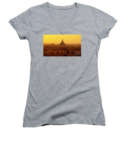 Women's V-Neck T-Shirt (Junior Cut) featuring the photograph Burma_d2227 by Craig Lovell