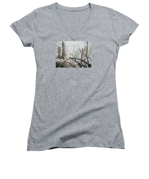 Women's V-Neck T-Shirt (Junior Cut) featuring the painting Burned Forest In The Snow by Ellen Levinson