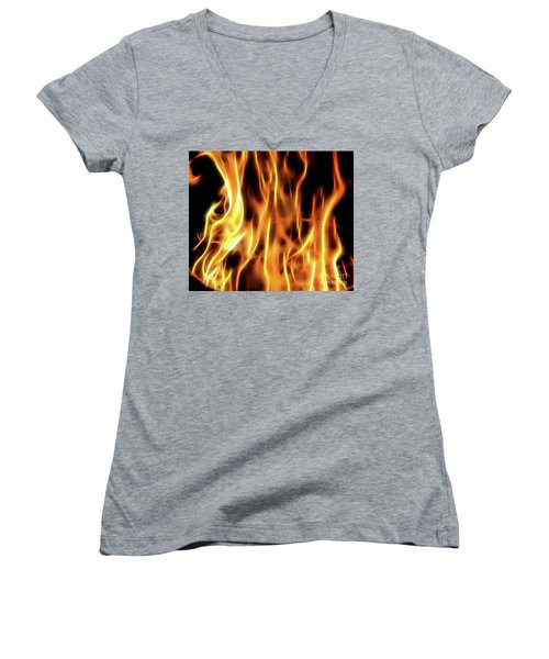 Burning Flames Fractal Women's V-Neck