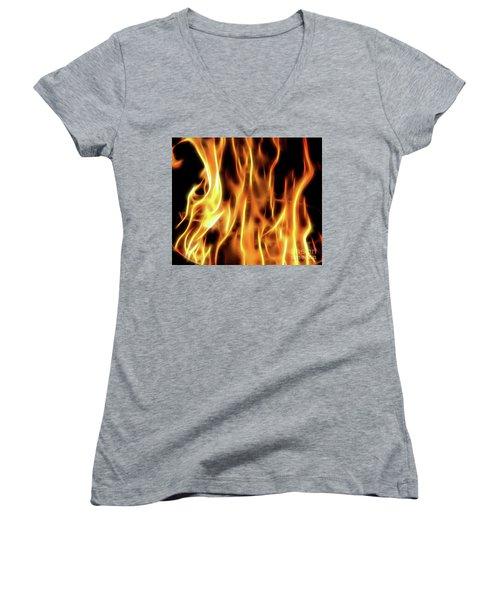 Burning Flames Fractal Women's V-Neck