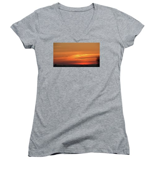 Burning Sunset Women's V-Neck T-Shirt