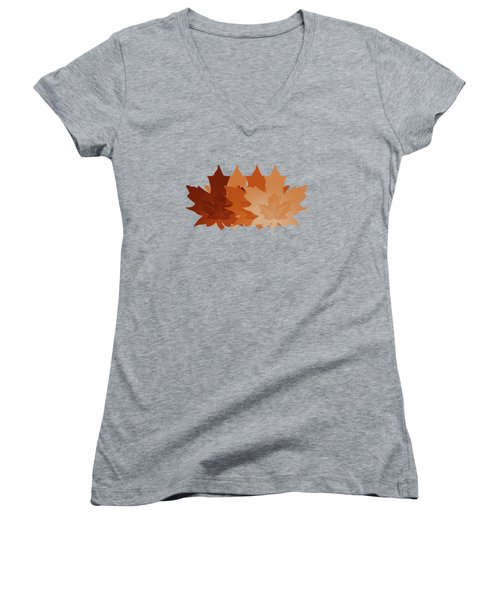 Burnt Sienna Autumn Leaves Women's V-Neck T-Shirt (Junior Cut) by Methune Hively