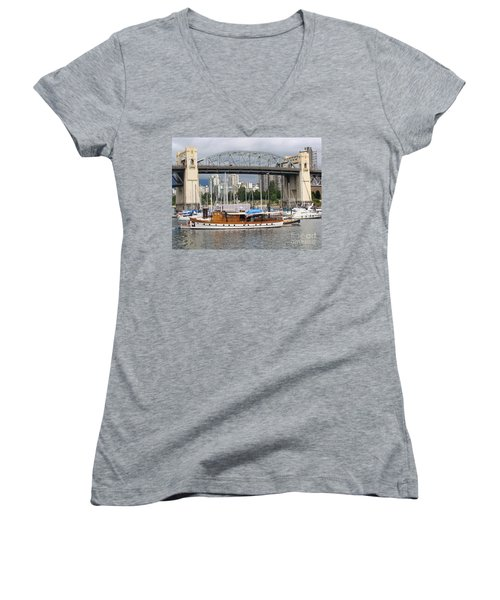 Women's V-Neck T-Shirt (Junior Cut) featuring the painting Burrard Street Bridge, Vancouver by Rod Jellison