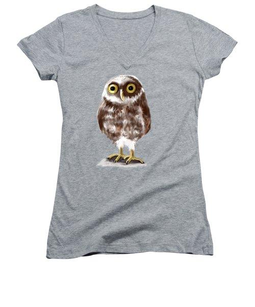 Burrowing Owl Women's V-Neck T-Shirt (Junior Cut) by Jean Pacheco Ravinski