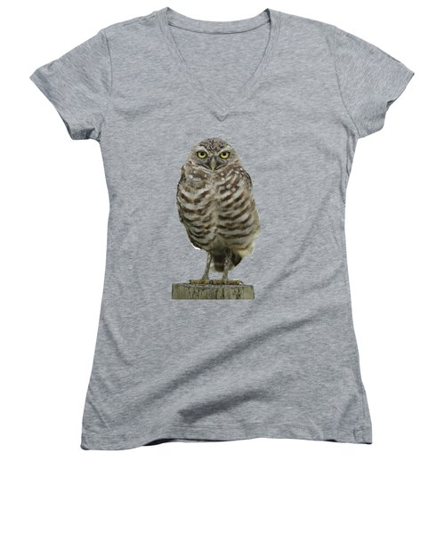 Women's V-Neck T-Shirt (Junior Cut) featuring the photograph Burrowing Owl Lookout by Bradford Martin