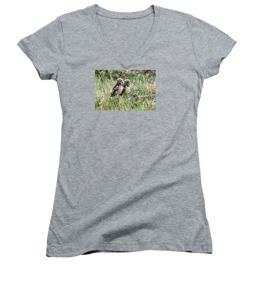 Burrowing Owlets Near Barr Lake Women's V-Neck T-Shirt (Junior Cut) by Stephen  Johnson