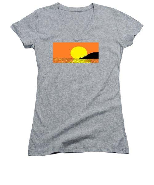 Burst Of Yellow Women's V-Neck T-Shirt (Junior Cut) by Linda Velasquez