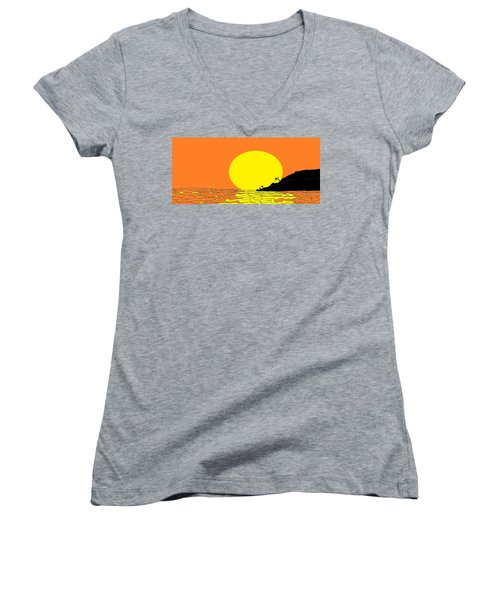 Burst Of Yellow Women's V-Neck T-Shirt