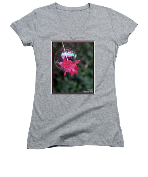 Women's V-Neck T-Shirt (Junior Cut) featuring the photograph Bursting Free by Irma BACKELANT GALLERIES