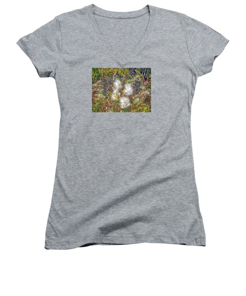 Bursting Milkweed Seed Pods Women's V-Neck T-Shirt