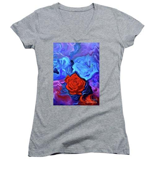 Bursting Rose Women's V-Neck T-Shirt (Junior Cut) by Jenny Lee