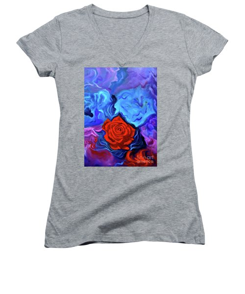 Bursting Rose Women's V-Neck T-Shirt (Junior Cut)