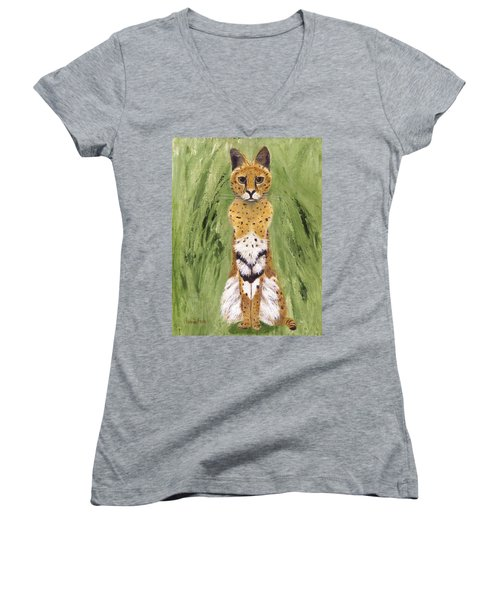 Women's V-Neck T-Shirt featuring the painting Bush Cat by Jamie Frier