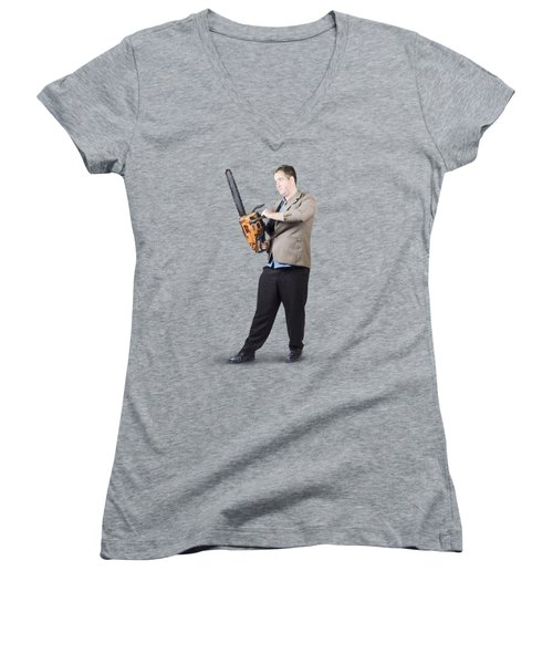 Women's V-Neck T-Shirt (Junior Cut) featuring the photograph Businessman Holding Portable Chainsaw by Jorgo Photography - Wall Art Gallery