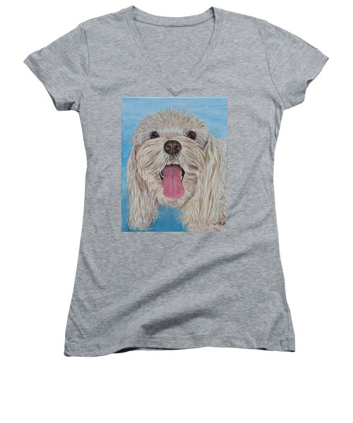 Women's V-Neck featuring the painting Buster by Nancy Nale