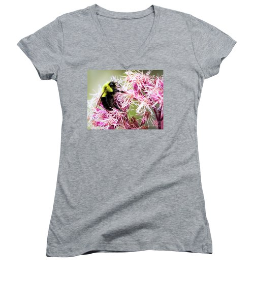 Women's V-Neck T-Shirt featuring the photograph Busy As A Bumblebee by Ricky L Jones