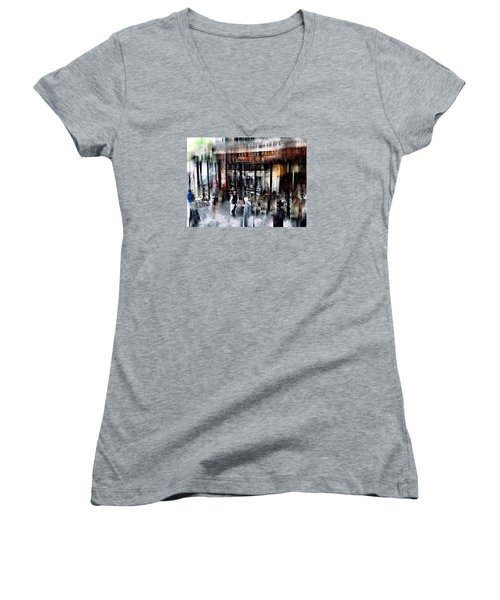 Busy Sidewalk Women's V-Neck T-Shirt (Junior Cut) by John Rivera