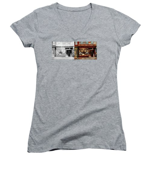 Women's V-Neck T-Shirt (Junior Cut) featuring the photograph Butcher - Meat Priced Right 1916 - Side By Side by Mike Savad