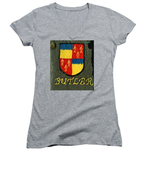 Women's V-Neck T-Shirt (Junior Cut) featuring the painting Butler Family Shield by Barbara McDevitt