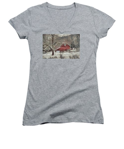 Women's V-Neck T-Shirt (Junior Cut) featuring the mixed media Butter Lane by Trish Tritz