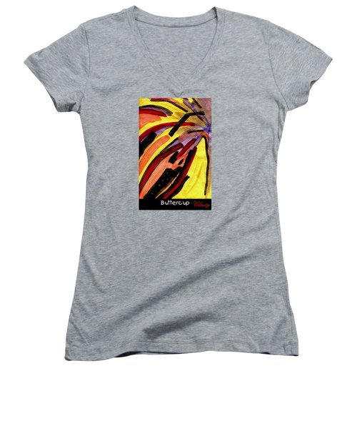 Buttercup Women's V-Neck T-Shirt (Junior Cut) by Clarity Artists
