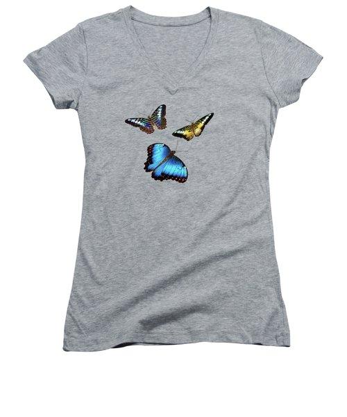 Butterflies Women's V-Neck T-Shirt (Junior Cut) by Phyllis Denton